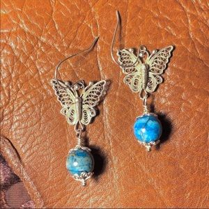 Jewelry - ☀️NEW! Sterling butterfly earrings w/ natural gem